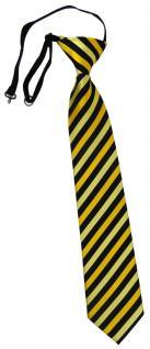 TigerTie Sicherheits Krawatte in gold schwarz gestreift - vorgebunden Gummizug