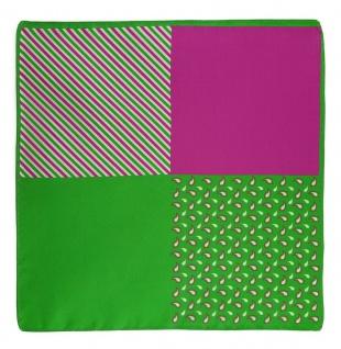 TigerTie Designer Satin Seiden Einstecktuch in grün magenta weissgrau gemustert