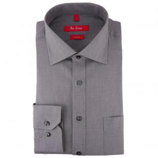 Ben Green Herrenhemd grau Uni langarm bügelfrei - New-Kent-Kragen Hemd Gr.42