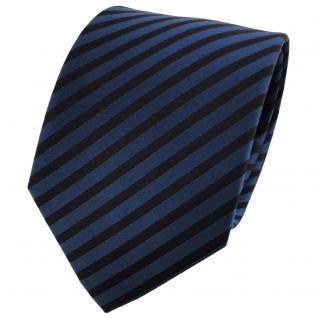 schöne Designer Seidenkrawatte dunkelblau schwarz gestreift -Krawatte 100% Seide