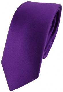 schmale TigerTie Satin Seidenkrawatte lila violett Uni - Tie Krawatte 100% Seide