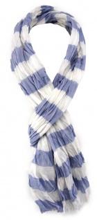 0c2131bfc51aa4 gecrashter TigerTie Schal blau weiß gestreift mit kleinen Fransen - Gr. 180  x 50