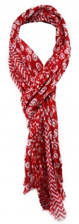 TigerTie Schal in rot weiß gemustert - Gr. 180 x 50 cm - 100% Baumwolle