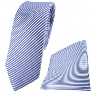 schmale TigerTie Seidenkrawatte + Einstecktuch in blau fernblau weiß gestreift