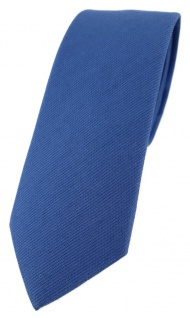 schmale TigerTie Krawatte dunkelblau Uni - 100% Baumwolle - Krawattenbreite 6 cm