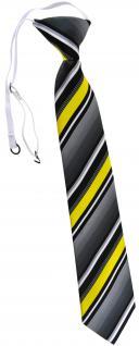 TigerTie Kinderkrawatte in gelb silber grau weiss gestreift - mit Gummizug