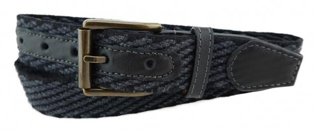 TigerTie - Stretchgürtel in schwarz anthrazit einfarbig - Bundweite 120 cm