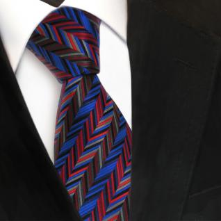 TigerTie Seidenkrawatte rot blau grau anthrazit gemustert - Krawatte Seide Tie