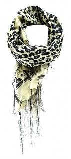 Halstuch in zartes gelb weissgelb schwarz mit Fransen - Tuch Größe 100 x 100 cm