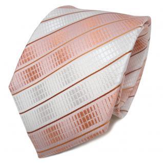 TigerTie Seidenkrawatte orange lachs hautfarben weiß gestreift - Krawatte Seide