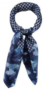 TigerTie Damen Nickituch Halstuch in blau marine hellblau türkis gemustert