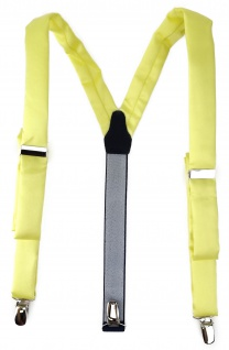 schmaler TigerTie Unisex Hosenträger mit 3 extra starken Clips- zitronengelb Uni