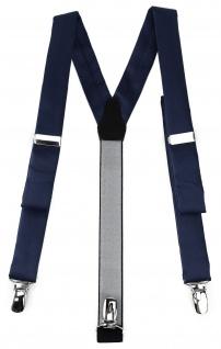 schmaler TigerTie Unisex Hosenträger mit 3 extra starken Clips - in marine Uni