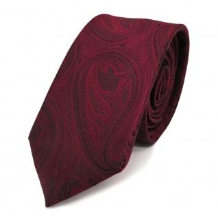 schmale TigerTie Designer Krawatte rot weinrot schwarz paisley muster - Binder