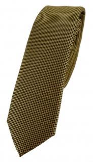 Modische schmale TigerTie Designer Krawatte in dunkles gold fein gepunktet