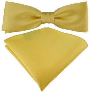 vorgebundete schmale TigerTie Satin Fliege + Einstecktuch in gelbgold Uni + Box