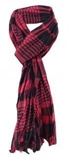 Raffschal rot weinrot schwarz kariert mit kleinen Fransen - Schal Gr. 180x50 cm
