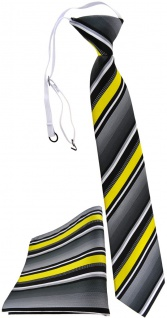 TigerTie Kinderkrawatte + Einstecktuch in gelb silber grau weiss gestreift