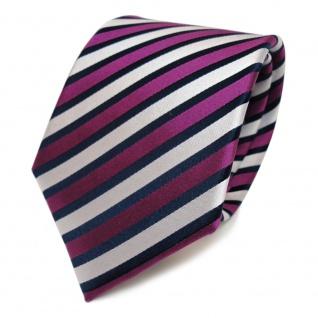 Designer Seidenkrawatte magenta lila silber blau gestreift - Krawatte Seide Tie - Vorschau 1