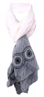 Damen Schal Faltenschal Halstuch in weiß grau schwarz Gr. 145 cm x 45 cm - Tuch