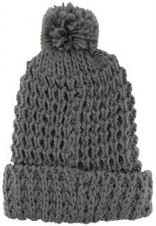 Strickmütze mit Bommel in anthrazit grau Uni - Wintermütze - Mütze Größe M