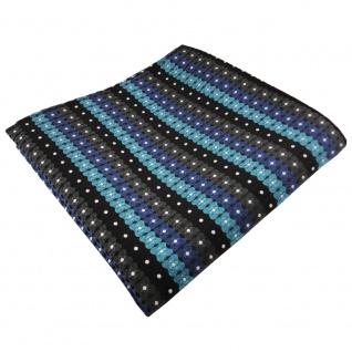 TigerTie Einstecktuch türkis blau schwarz anthrazit silber gestreift - Polyester