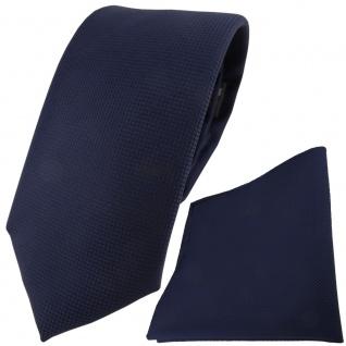 TigerTie Krawatte + Einstecktuch in marine dunkelblau fein gepunktet