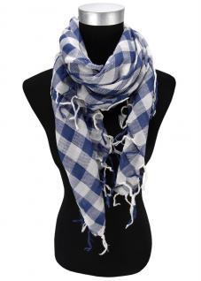 Halstuch in blau weiß kariert mit Fransen - Gr. 100 x 100 cm - Schal