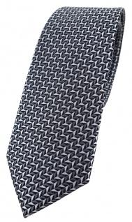 schmale TigerTie Designer Krawatte in silber schwarz grau gemustert