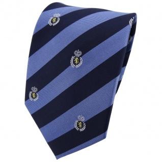TigerTie Seidenkrawatte blau dunkelblau silber gold gestreift Wappen - Krawatte
