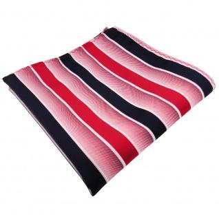 TigerTie Einstecktuch in rot knallrot dunkelblau weiß gestreift - Tuch Polyester