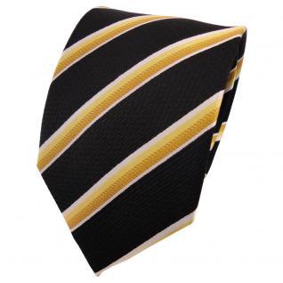 TigerTie Seidenkrawatte gelb gold silber schwarz gestreift - Krawatte Seide Tie