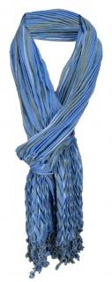 gecrashter Schal in blau olive grau gestreift mit Fransen - 190 x 60 cm