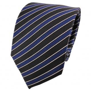 Satin Seidenkrawatte blau anthrazit schwarz silber gestreift - Krawatte Seide