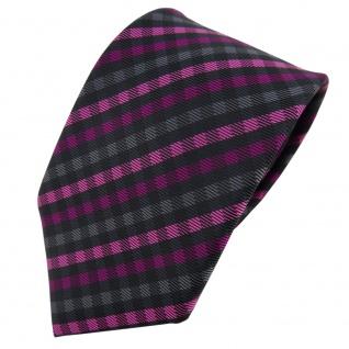 TigerTie Designer Krawatte magenta anthrazit schwarz kariert - Schlips Tie