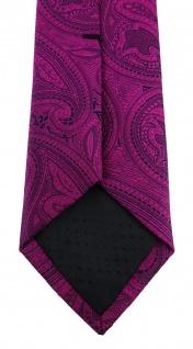 TigerTie - schmale Krawatte in magenta beere lila schwarz Paisley gemustert - Vorschau 4