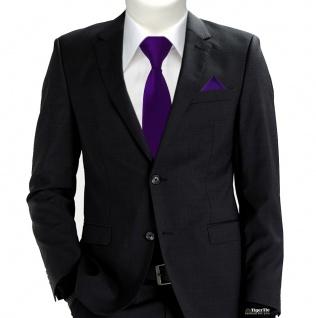 XXL TigerTie Sicherheits Krawatte + Einstecktuch lila violett einfarbig Uni Rips - Vorschau 2