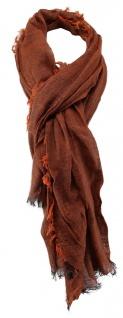 TigerTie Schal in rostbraun orange einfarbig mit Fransen - Gr. 180 x 100 cm