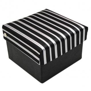 3er Set TigerTie Krawatte + Einstecktuch + Box in schwarz silber grau gestreift - Vorschau 2