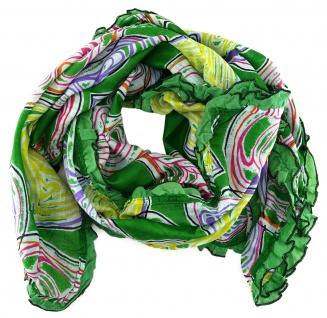 Halstuch in grün gelb lila magenta grau orange schwarz Herzmotive mit Rüschen