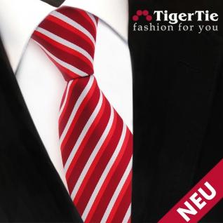 TigerTie Designer Krawatte rot hellrot verkehrsrot silber gestreift - Binder Tie - Vorschau 3