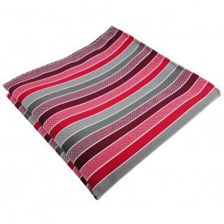 TigerTie Einstecktuch rot bordeaux grau silber gestreift - Tuch 100% Polyester