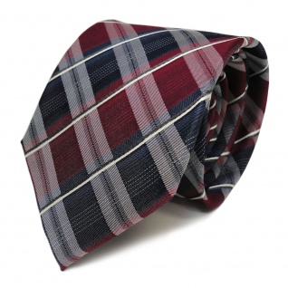 TigerTie Seidenkrawatte rot weinrot blau dunkelblau weiss gestreift - Krawatte