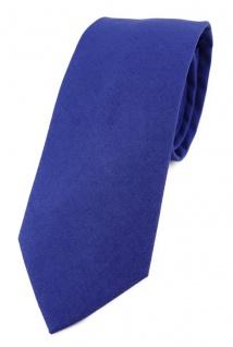 TigerTie Krawatte in royal Unicolor einfarbig - Breite 7, 5 cm - 100% Baumwolle