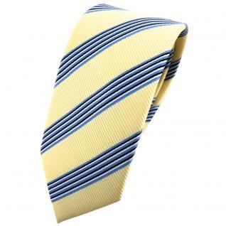 Schmale TigerTie Krawatte gelb blassgelb blau schwarz silber gestreift - Binder