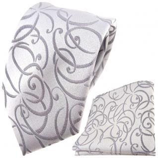 Hochzeit Seidenkrawatte + Einstecktuch silber Rankenmuster Uni - 100% Seide