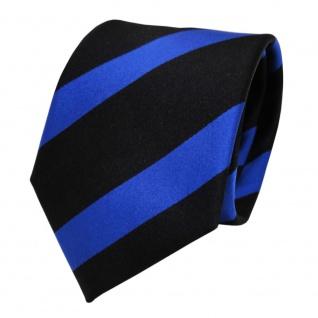 TigerTie Designer Seidenkrawatte blau schwarz leuchtblau gestreift