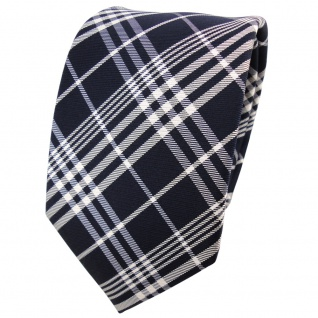 TigerTie Seidenkrawatte blau schwarzblau silber grau kariert - Krawatte Seide