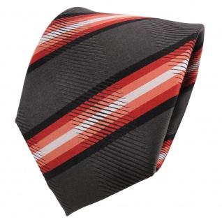 TigerTie Designer Seidenkrawatte orange anthrazit schwarz gestreift - Krawatte