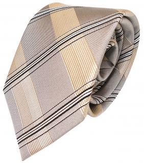 Designer Krawatte in silber grau gold kariert 100% Seide